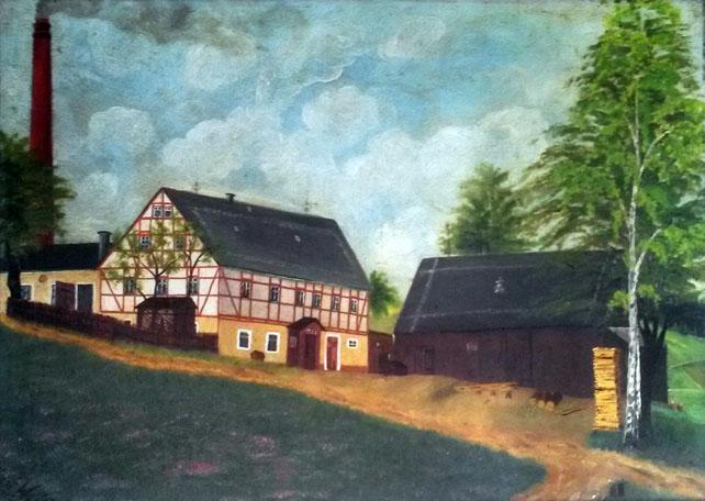 Clausnitz Nr. 8 c (heute Geleitstraße 6) um 1913, mit Anbau und dem Schornstein der großen Dampfmaschine